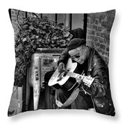 Post Alley Musician In Black And White Throw Pillow