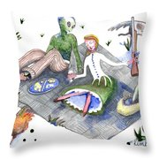 Post Apocalypse Toile Throw Pillow
