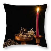 Post Card With Traditional Copper Dishes And Red Candle Throw Pillow