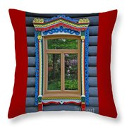 Post Dacha Window Throw Pillow