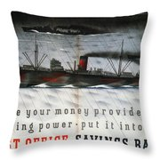 Post Office Savings Bank - Steamliner - Retro Travel Poster - Vintage Poster Throw Pillow