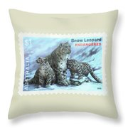 Postage Stamp - Snow Leopard By Kaye Menner Throw Pillow