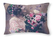 Postcard Girl With A Bouquet Throw Pillow
