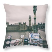 Postcards From Westminster Throw Pillow