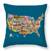 Postcards Of The United States Vintage Usa All 50 States Map Throw Pillow