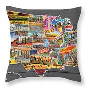 Postcards Of The United States Vintage Usa Map On Gray Wood Background Throw Pillow
