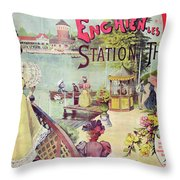 Poster Advertising Spa Resort  Throw Pillow