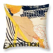 Poster Advertising The Exposition Internationale Daffiches Paris Throw Pillow