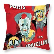 Poster Advertising The Fratellini Clowns Throw Pillow