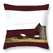 Poster Look American Red Barn With Silos I Niles Michigan Usa Throw Pillow