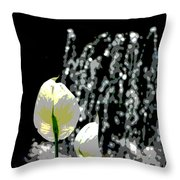 Posterized Fountain And Flower Throw Pillow