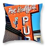 Pot Belly's Pub Sign Throw Pillow