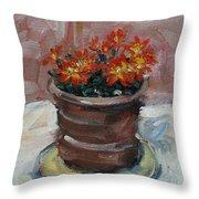 Pot Of Bee Dance Flowers Throw Pillow