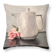Pot Of Coffee And A Paper Rose Throw Pillow