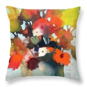 Pot Of Flowers Throw Pillow by Michelle Abrams
