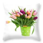 Pot Of Pink And Violet Tulips Throw Pillow