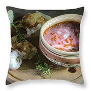 Pot Of Ukrainian Borsch Throw Pillow