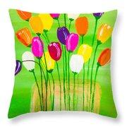 Pot O'tulips Throw Pillow