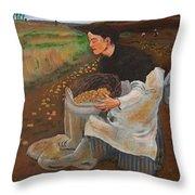Potatoe Pickers Throw Pillow