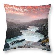Potomac River At Great Falls Sunrise Landscape Throw Pillow