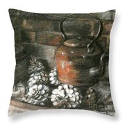 Pots Of A Fireplace Throw Pillow