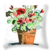 Potted Geraniums Throw Pillow