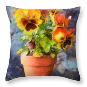 Potted Pansy Pencil Throw Pillow