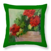 Potted Red Geraniums Throw Pillow