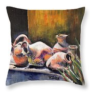 Pottery And Aloe Throw Pillow
