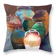 Pottery Jars Throw Pillow