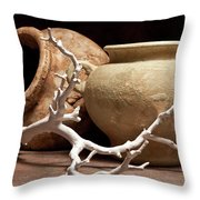 Pottery With Branch II Throw Pillow