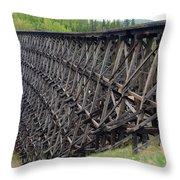 Pouce Coupe Train Wooden Trestle Throw Pillow