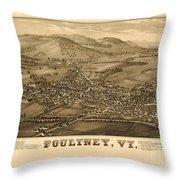 Poultney Vermont Map Vintage Throw Pillow