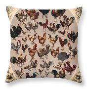 Poultry Of The World Poster Throw Pillow