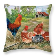 Poultry Peckin Pals Throw Pillow