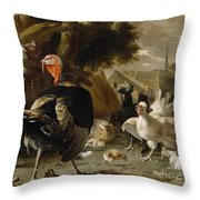 Poultry Yard Throw Pillow by Melchior de Hondecoeter