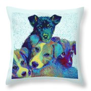Pound Puppies Throw Pillow by Jane Schnetlage