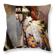 Pow Wow First Nation Dancer Throw Pillow