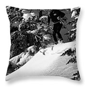 Powder Hound Bw Version Throw Pillow