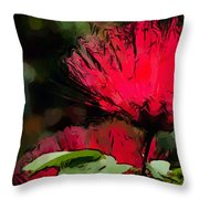 Powder Puff In Red Throw Pillow