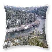 Powdered Spokane River Throw Pillow