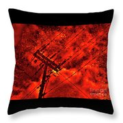 Power Line - Asphalt - Water Puddle Abstract Reflection 02 Throw Pillow