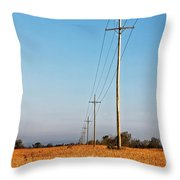 Power Lines At Sunrise Throw Pillow