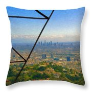 Power Lines Los Angeles Skyline Throw Pillow