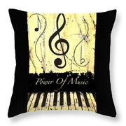 Power Of Music Yellow Throw Pillow