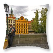 Prague Accordian Player On Charles Bridge Throw Pillow