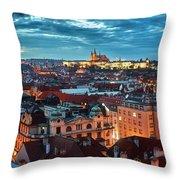 Prague At Night Throw Pillow