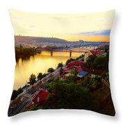 Prague At Sundown Throw Pillow