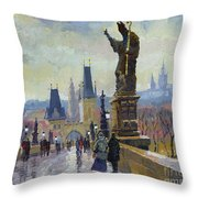 Prague Charles Bridge 04 Throw Pillow by Yuriy  Shevchuk