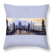 Prague Charles Bridge Throw Pillow